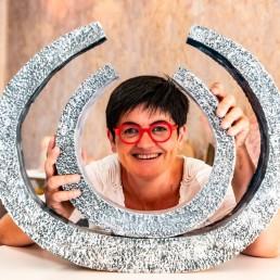 Sculpture 2 anneaux entrelacés et mobiles Angélique Villeneuve céramiste ravel