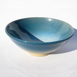 saladier en grès émail bleu Angelique Villeneuve ceramiste ravel